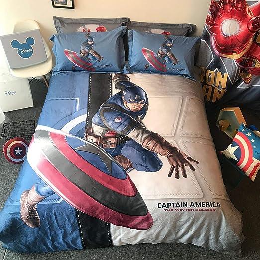 Zller2587 Edredón de algodón Capitán América Funda de Almohada ...