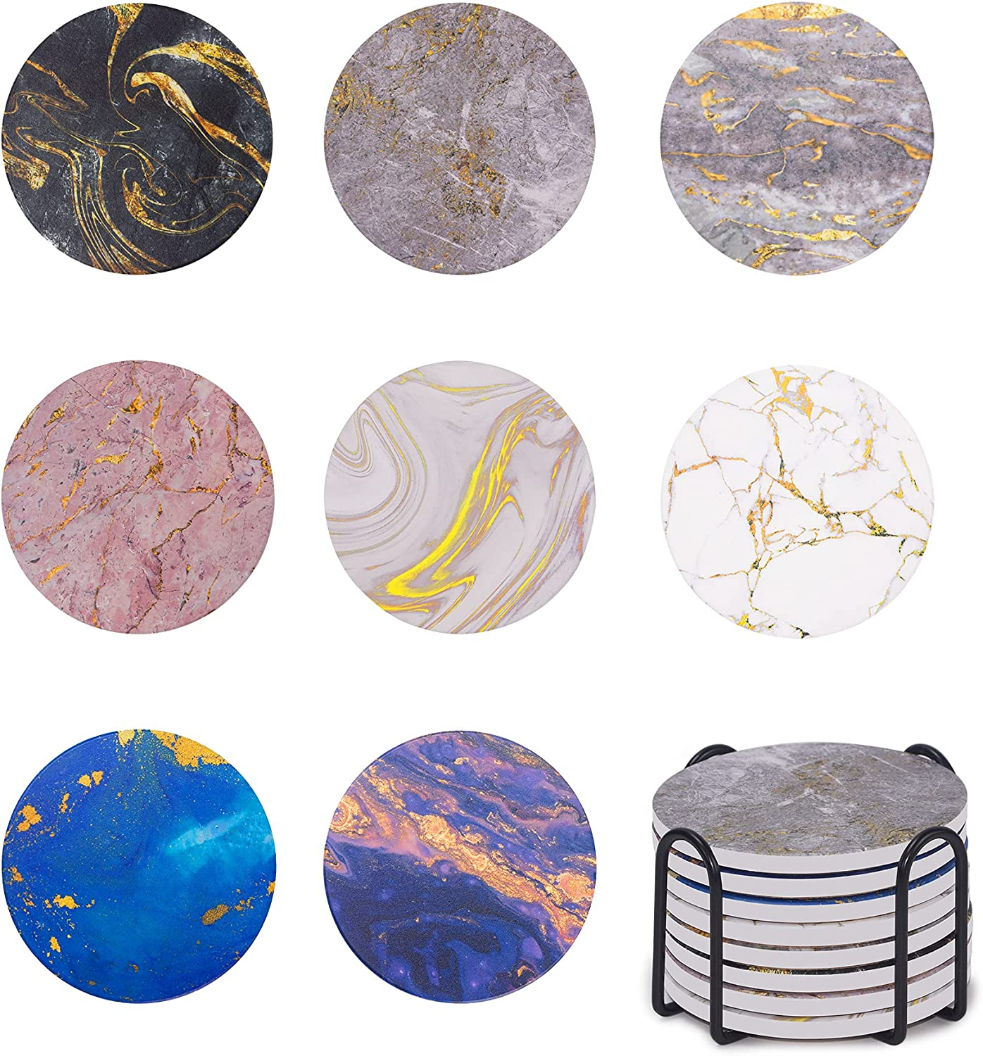 Kendiis Coasters 8pcs Ceramic Marble Style Absorbent Drink Coasters with Cork Base, Stone Coasters, Housewarming Hostess Gifts for New Home, Christmas, Wedding Registry, Living Room Decorations