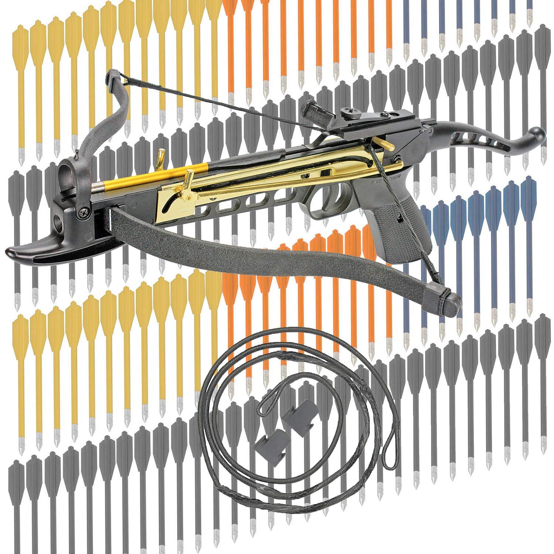 KingsArchery Crossbow Self-Cocking 80 LBS Adjustable Sights, 3 Aluminium Arrow Bolts, Spare Crossbow String Caps Bonus 120-pack Colored PVC Arrow Bolts Warranty