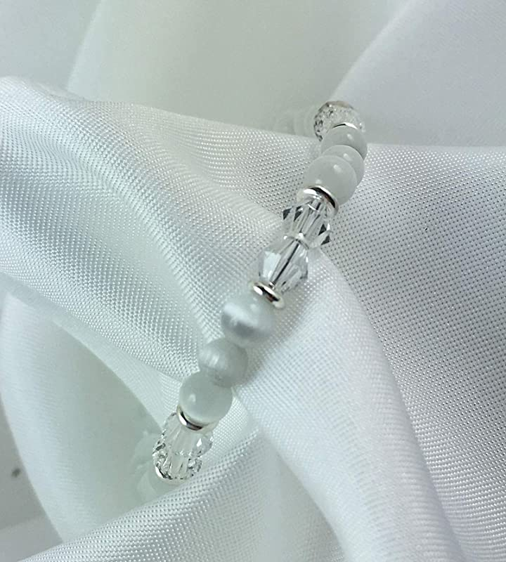 MA008 White Cats Eye Crystal Silver Medical ID Alert Replacement Bracelet!