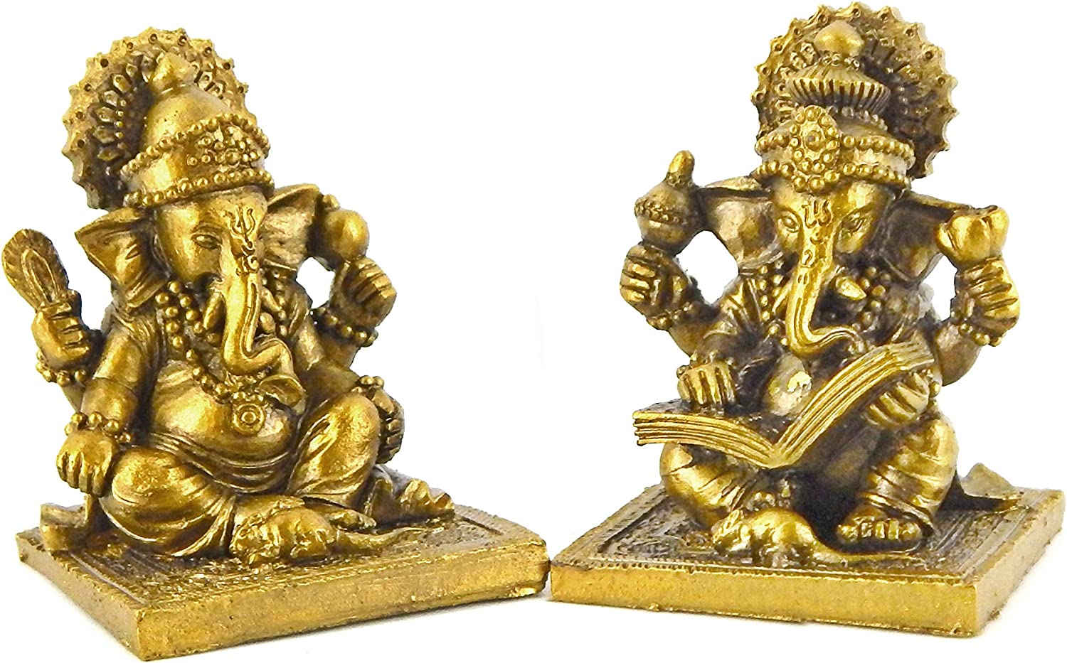 Bellaa 20971 Set of 2 Ganesha Statue Hindu God Lord Ganapati Idol Blessing Ganesh Sculpture Indian Elephant Buddha Diwali Pooja Ritual Home Decoration Good Luck Success Housewarming Gift 2.5 inch
