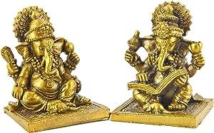 Bellaa 20971 Set of 2 Ganesha Statue Hindu God Lord Ganapati Idol Blessing Ganesh Sculpture Indian Elephant Buddha Diwali Pooja Ritual Home Decoration Good Luck Success Housewarming Gift 2.5 inch