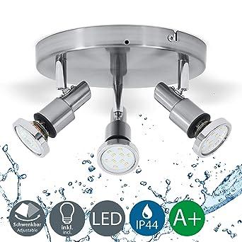 B.K.Licht plafonnier LED 3 spots orientables, plafonnier salle de ...