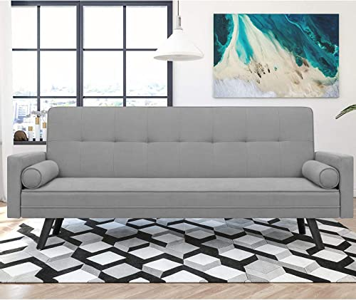 JUMMICO Futon Sofa Bed Modern Couch Bed Mid-Century Fabric Sofa Convertible Bench Seat for Living Room with Solid Wood Legs Grey