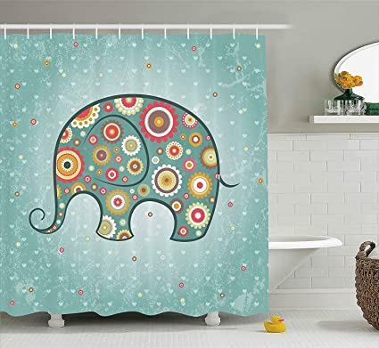 Inexpensive Shower Curtains Elephant Curtain Rod Abstract Purple Fabric Wrinkle