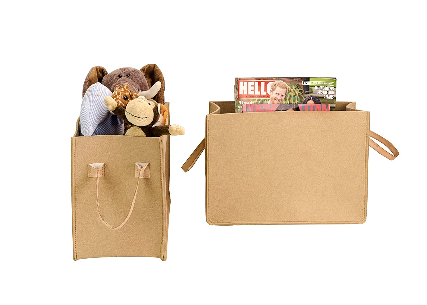 Magazines and Books. Camel Felt Basket with Handles for Toys Storage Basket Clothes