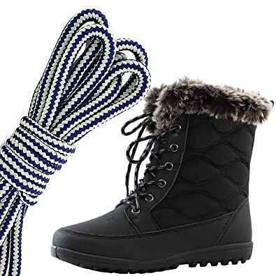 ffdfea8f3b391 DailyShoes Women's Comfortable Round Toe Flat Ankle High Eskimo Winter Fur  Snow Boots, Navy Blue