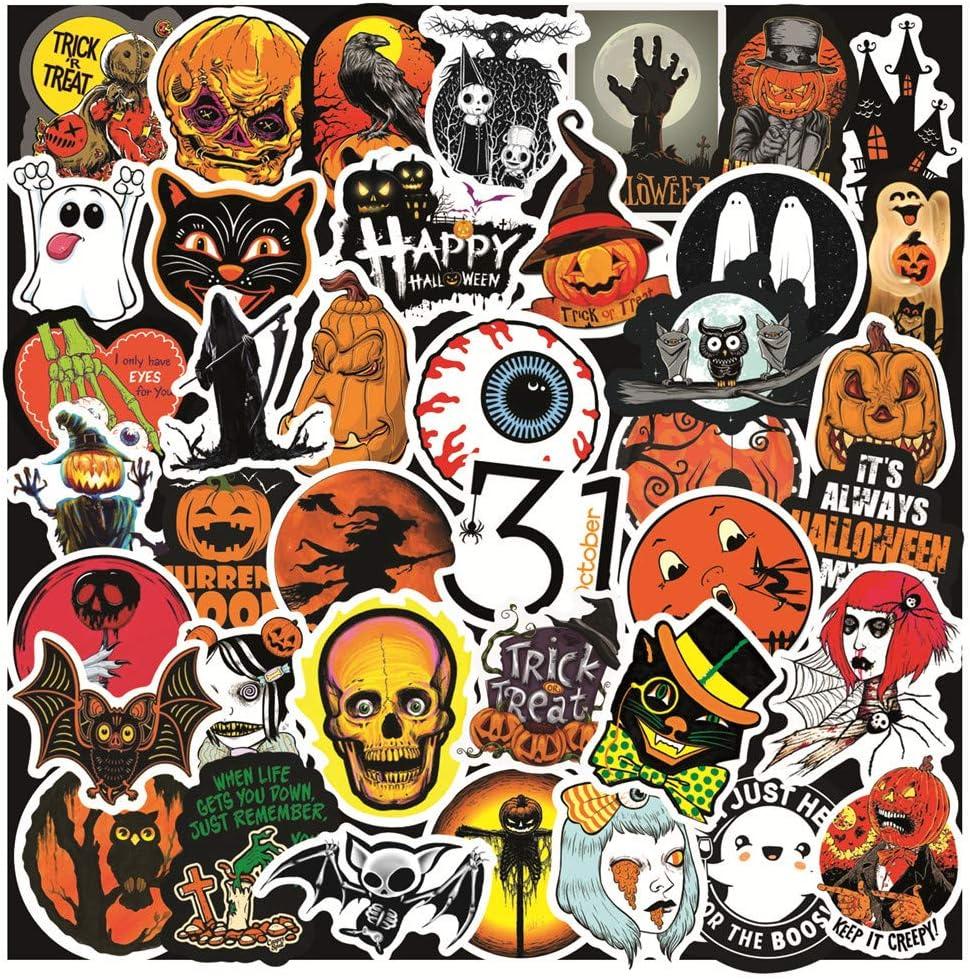 Halloween Stickers Pack of 50 Pumpkin Scary Cat Bat Skull Girls Boys Adults Walls Laptops Skateboards Computers Phones Guitars Water Bottles Decal