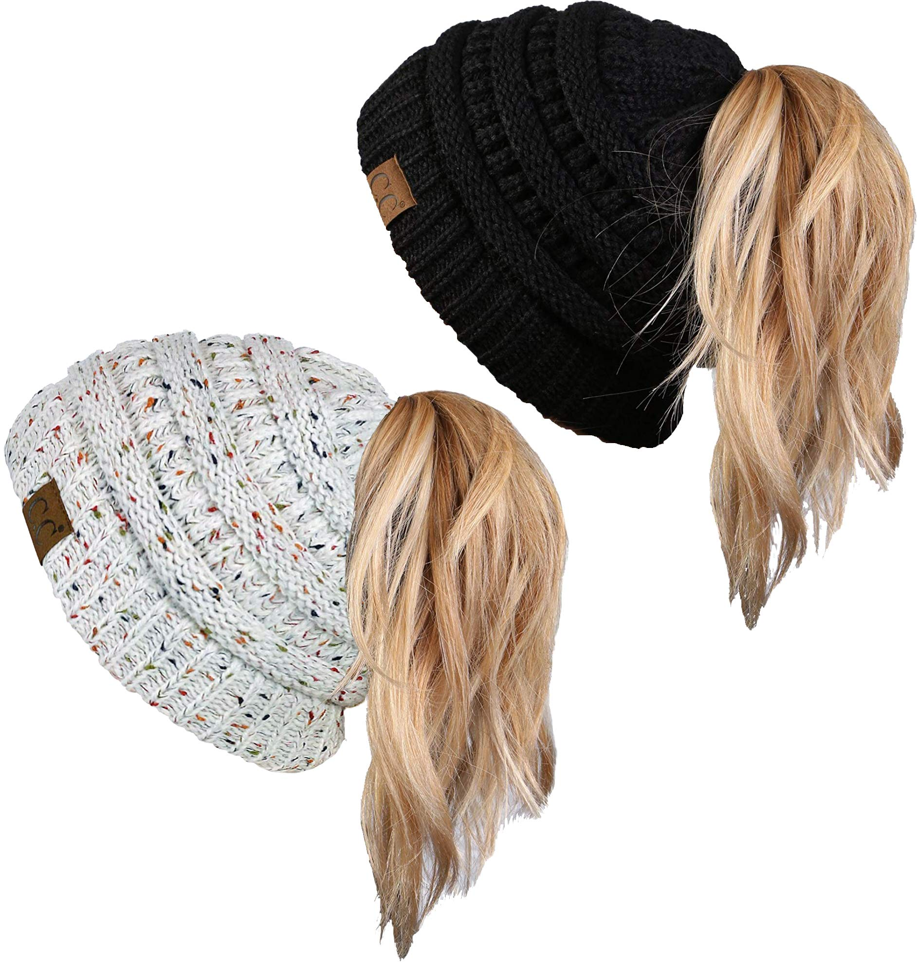 BT-6020a-2-06-3325 Messy Bun Beanie Tail Bundle - Black & Confetti Ivory (2 Pack)