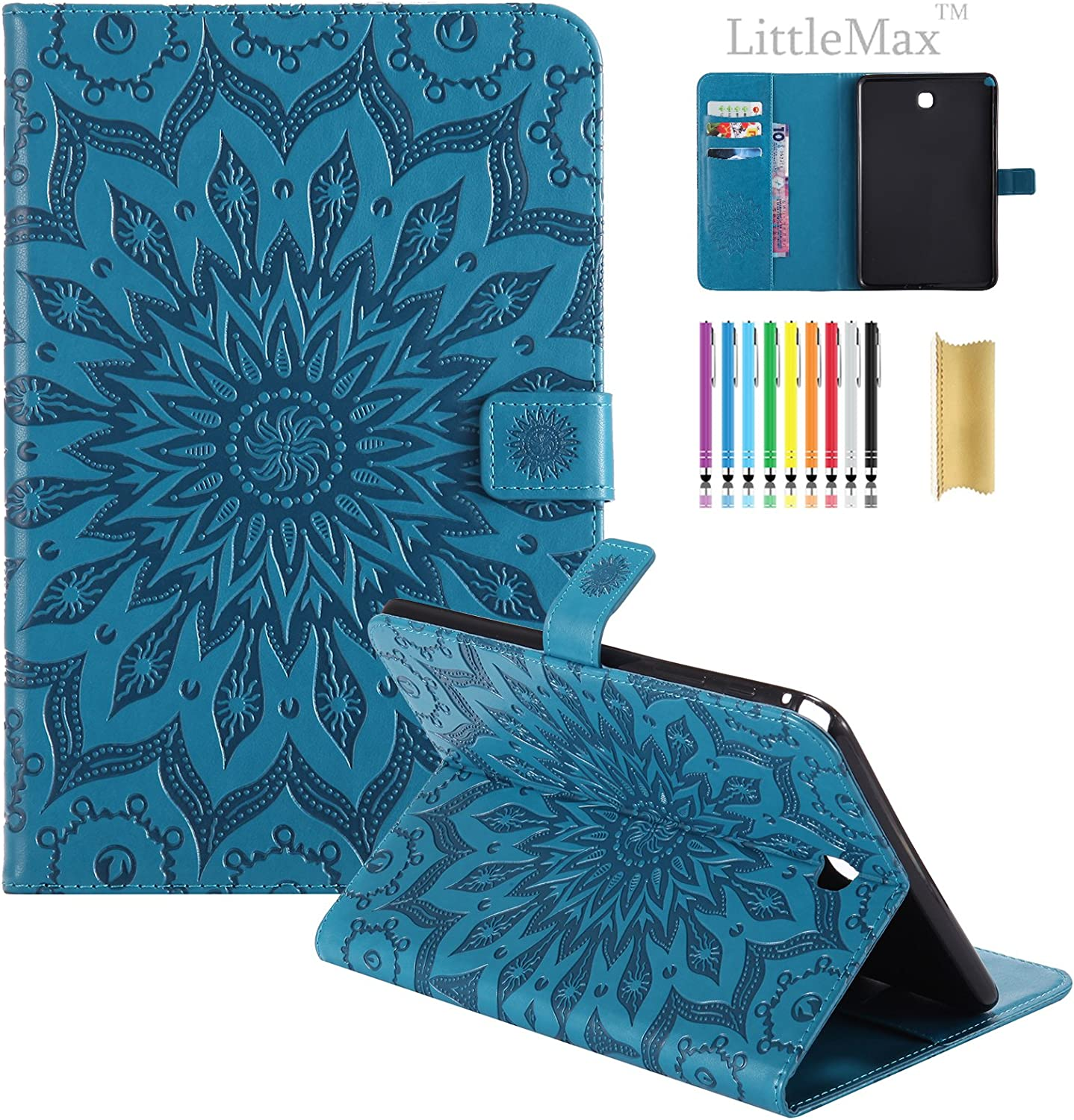 SM-T350 Case Galaxy Tab A 8.0 Case #2 Blue TM Embossed PU Leather Smart Wallet Case with LittleMax Auto Wake//Sleep Cute Cartoon Flip Stand Cover for Samsung Galaxy Tab A 8.0 Tablet