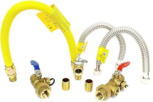 V G 34kit 3 4 Tankless Heater Isolation Installation Complete Kit-NSF-61 Certified Lead Free Brass-Single Handle Full Port Flush Valves 2 Nipples 1 Gas 2 Water Line Hoses