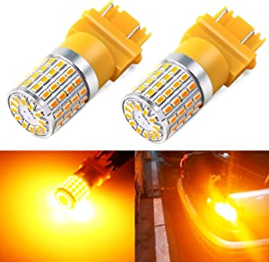 Phinlion Super Bright 3014 72-SMD 3056 3156 3057 3157 4057 4157 Amber Yellow LED Light Bulbs for Turn Signal Blinker Lights Lamps