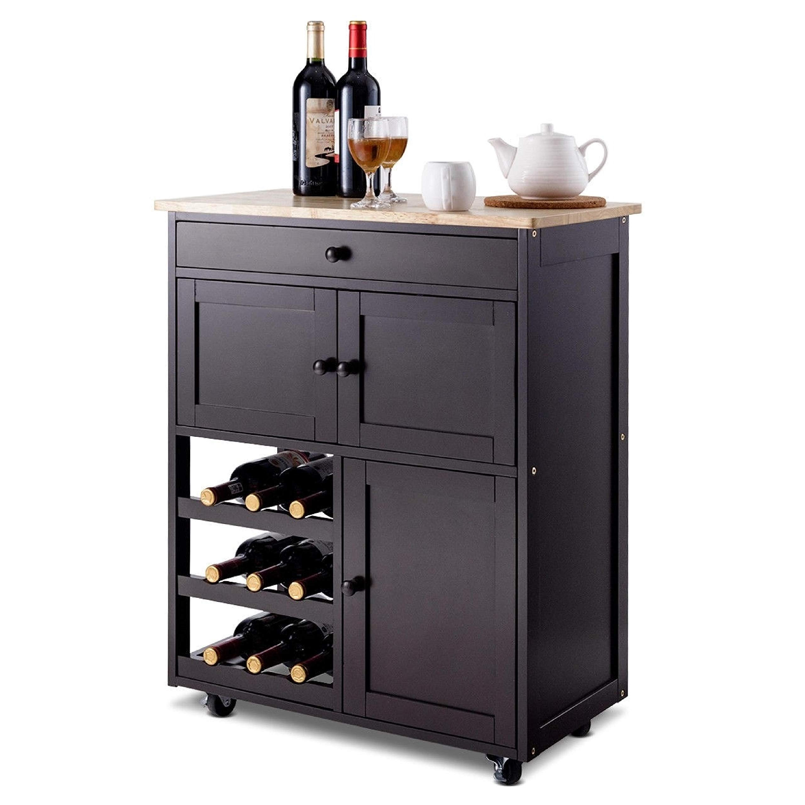 Brown Wood Mobile Kitchen Island Cart Cabinet with Wine Rack and Drawer, Brown Wood Mobile Kitchen Island Cart Cabinet with Wine Rack and Drawer
