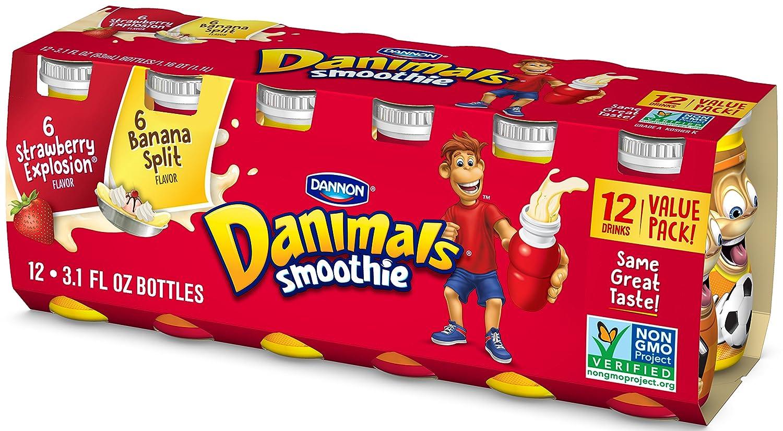 Dannon Danimals Smoothies Yogurt Drink Strawberry Explosion Banana Split 3 1 Fl Oz 12 Pack Com Grocery Gourmet Food