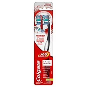 Colgate 360° Advanced Optic White Toothbrush, Medium - 2 Count
