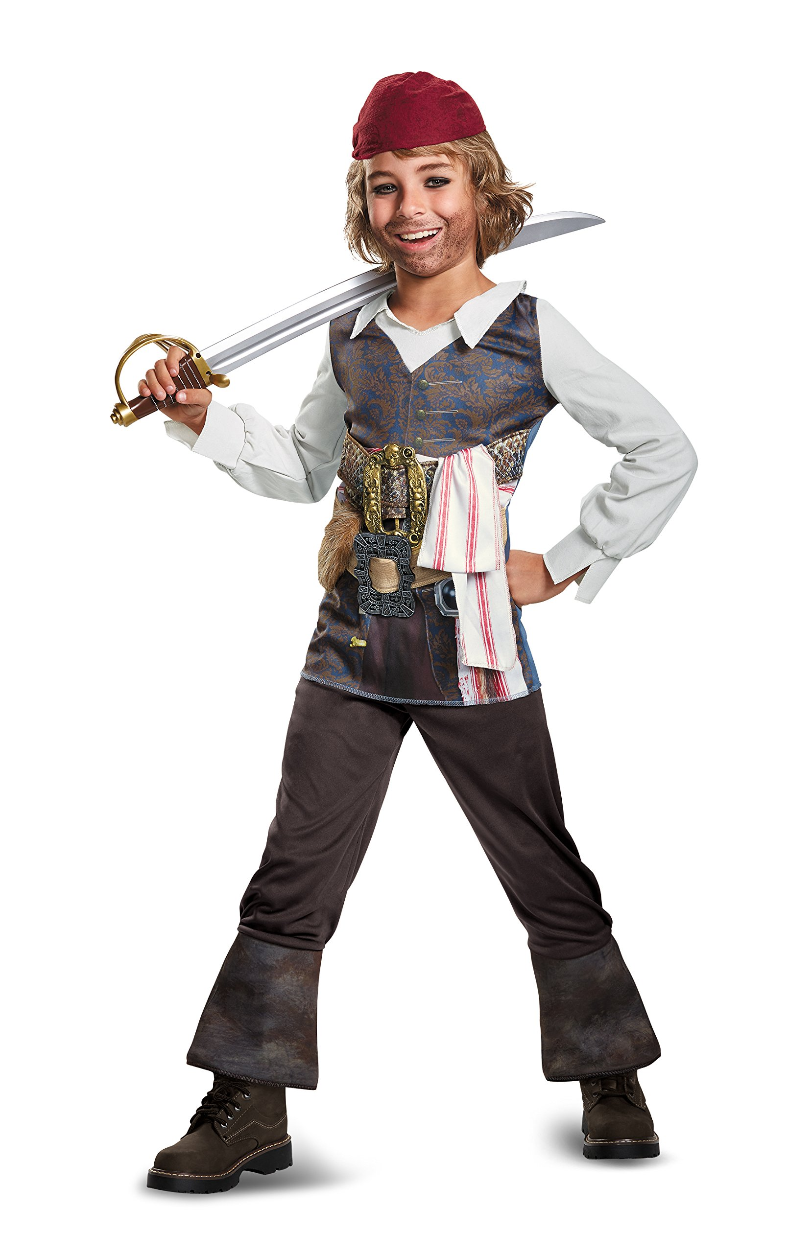 Disney POTC5 Captain Jack Sparrow Classic Costume,  Multicolor,  Medium (7-8) by Disguise