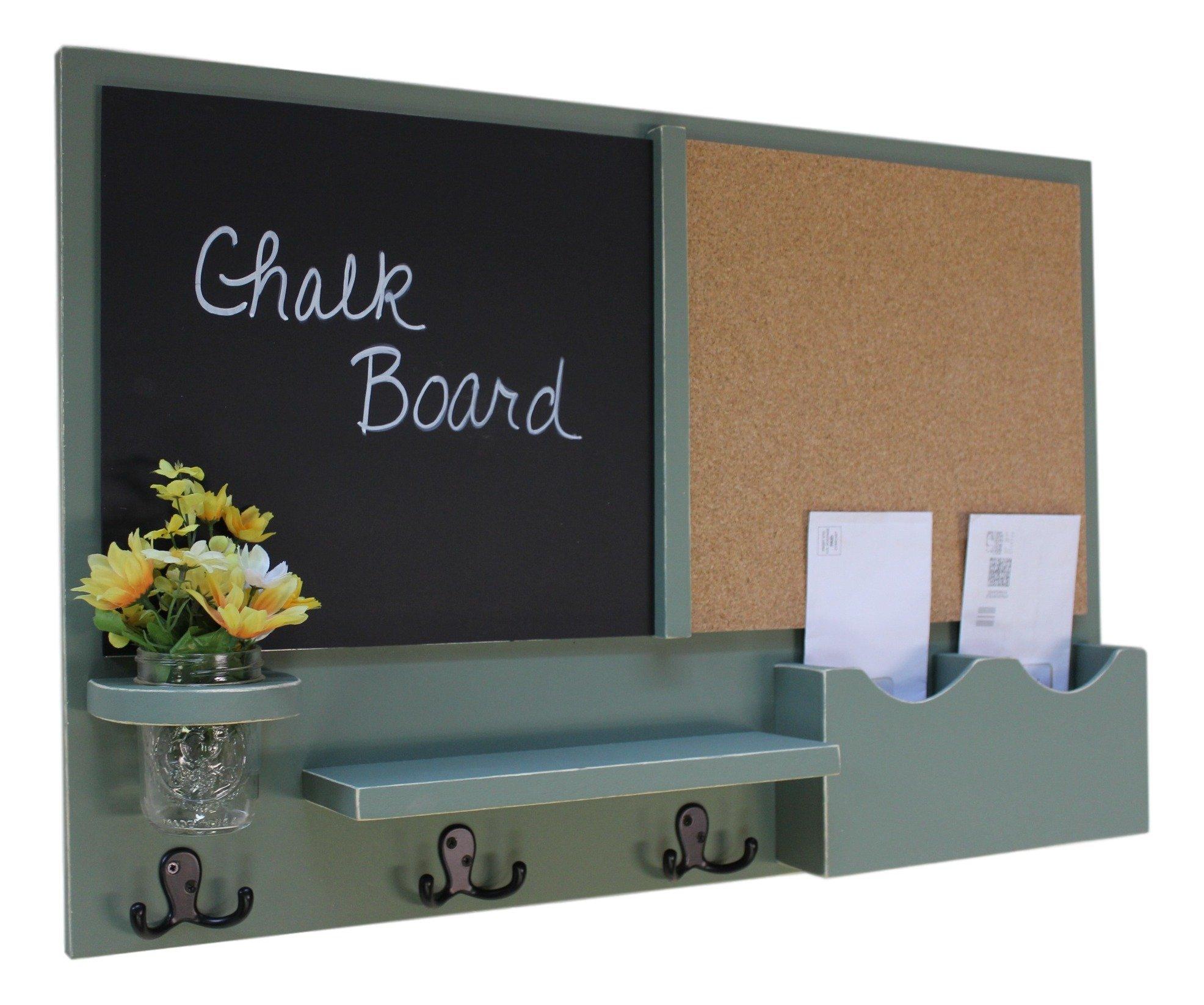 Legacy Studio Décor Message Center with Chalkboard & Cork Letter Holder Coat Rack Key Hooks (Distressed, Sage)