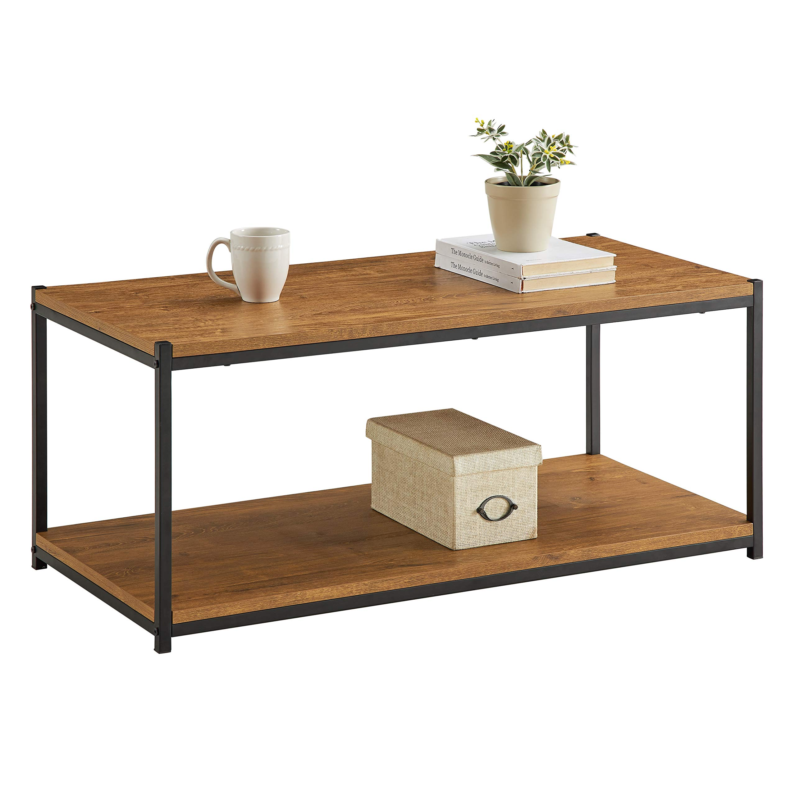 Tall Center Table Coffee Table by CAFFOZ Furniture Designs | Storage Shelf | Sturdy | Easy Assembly | Brown Oak Wood Look Accent Furniture with Metal Frame by CAFFOZ Funiture Designs