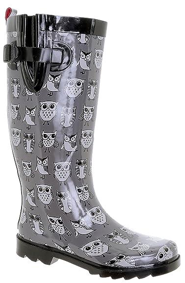 72a68a71ba3 Capelli New York Shiny Sketchy Owls Print Tall Sport Body Ladies Rain Boots  Grey Combo 6