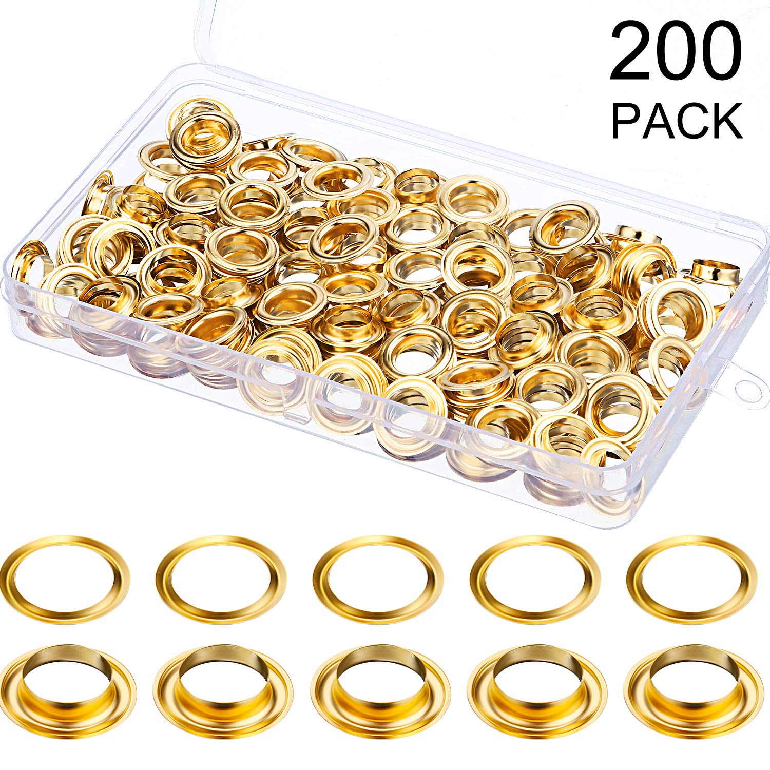 200 Pieces Metal Grommets Eyelets Self Backing with Flat Washer for Bead Clothes Leather Canvas Cores DIY Craft 6.35 mm, Bronze