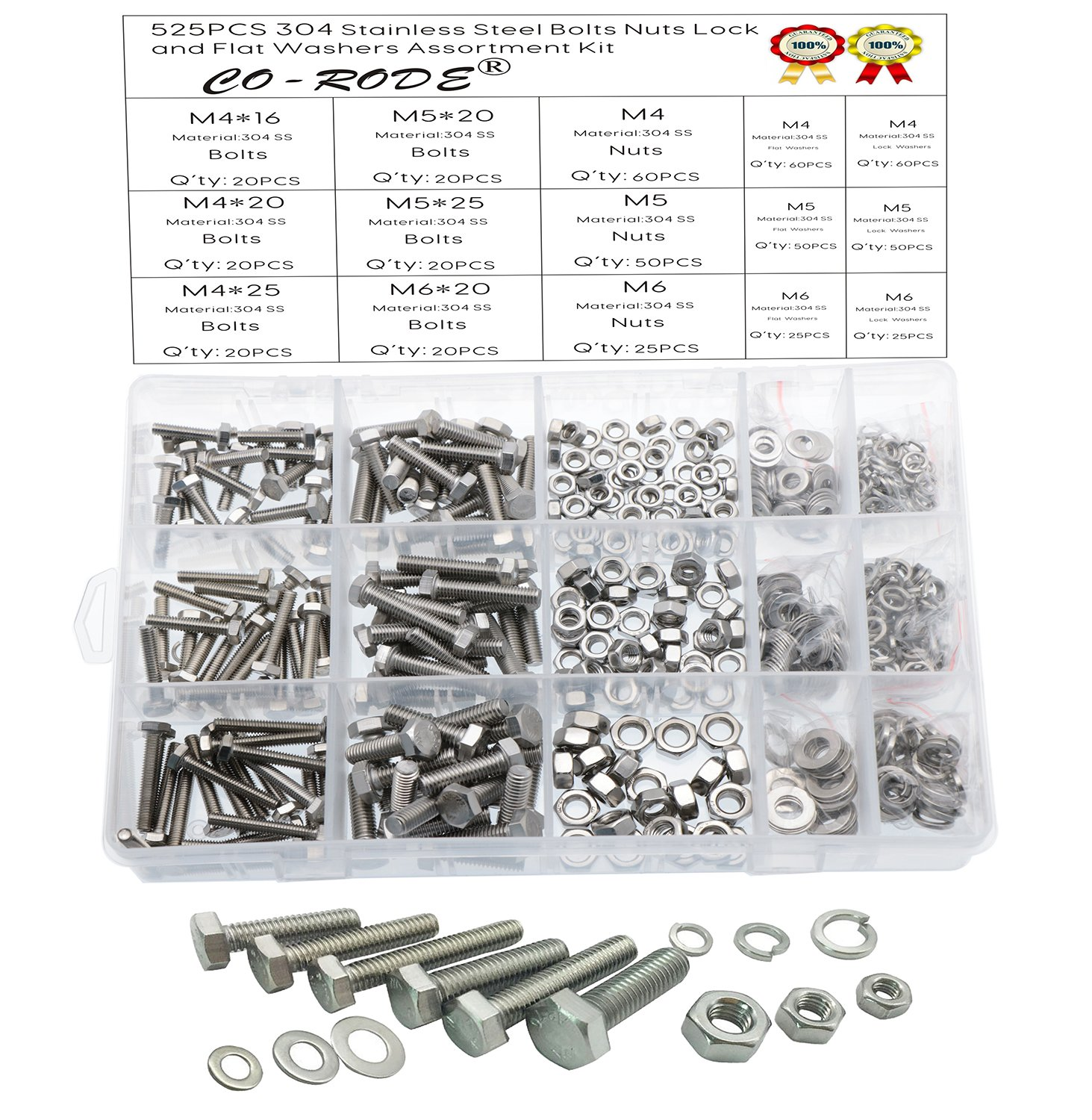 525pcs Stainless Steel Hex Head Cap Bolts Nuts Screw with Lock and Flat Washers Assortment