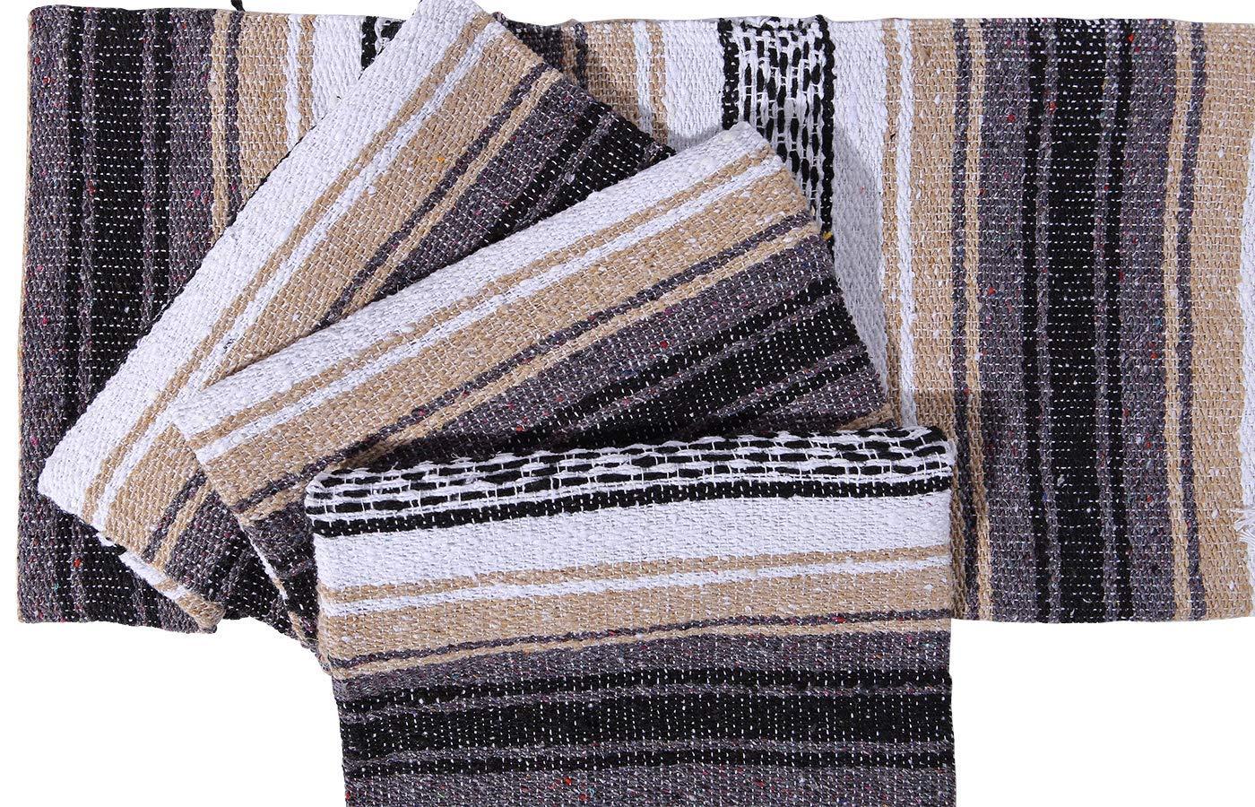 El Paso Designs Genuine Mexican Falsa Blanket - Yoga Studio Blanket, Colorful, Soft Woven Serape Imported from Mexico (Beige) by El Paso Designs (Image #4)