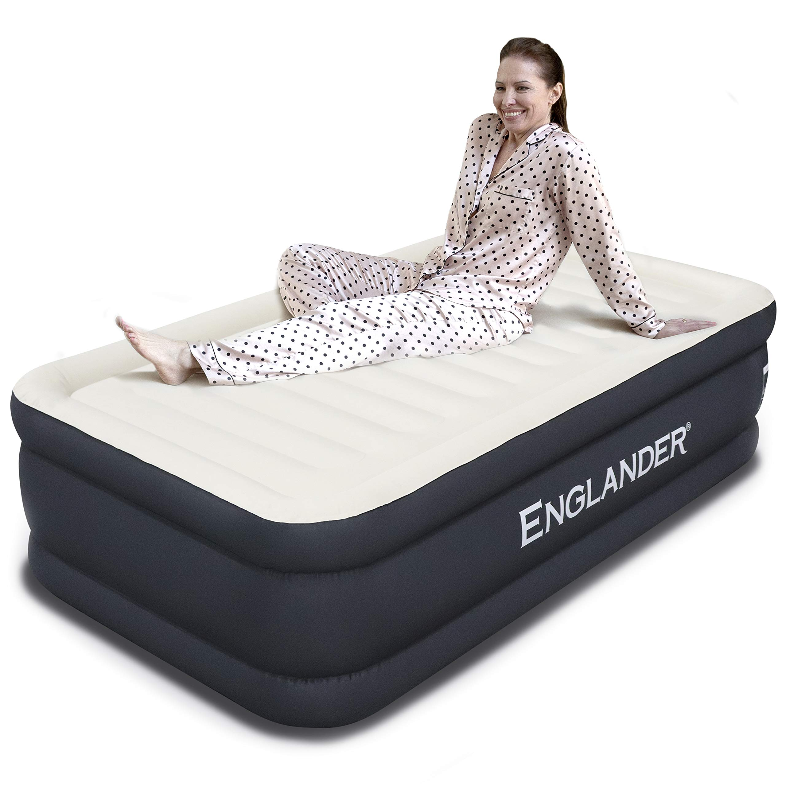 Englander First Ever Microfiber AIR Mattress Twin Size, Luxury Airbed with Built in Pump, Highest End Blow Up Bed, Inflatable Air Mattresses for Guests Home Travel 5-Year Warranty (Black) by Englander