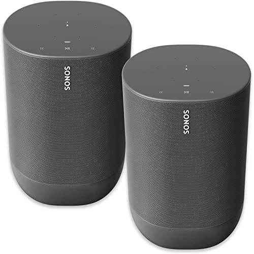 Two Room Sonos Move – Battery-Powered Smart Wi-Fi and Bluetooth Speaker with Alexa Built-in