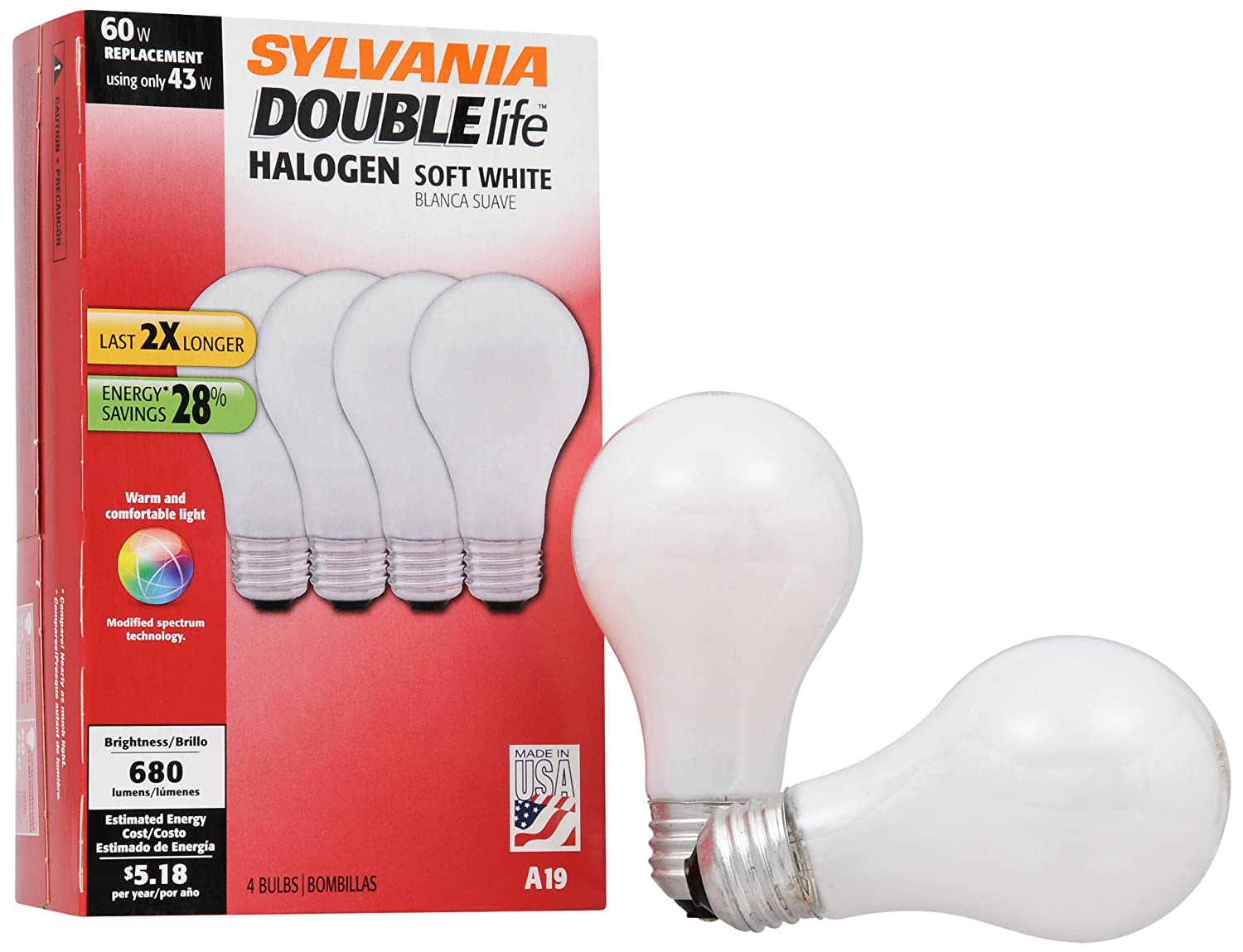 SYLAVNIA Halogen Dimmable Lamp / Replacing A19 100W Halogen Bulb Super Soft White / Medium Base E26 / 72 Watt / 2900 K - warm white, 2 Pack - Halogen Bulbs ...