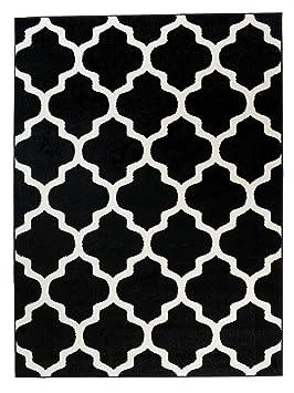 Grande Tapis De Salon - Noir Crème - Motif De Treillis Marocain - Design  Moderne & Traditionnel - Parfait Pour La Chambre - Plusieurs Coloris & ...