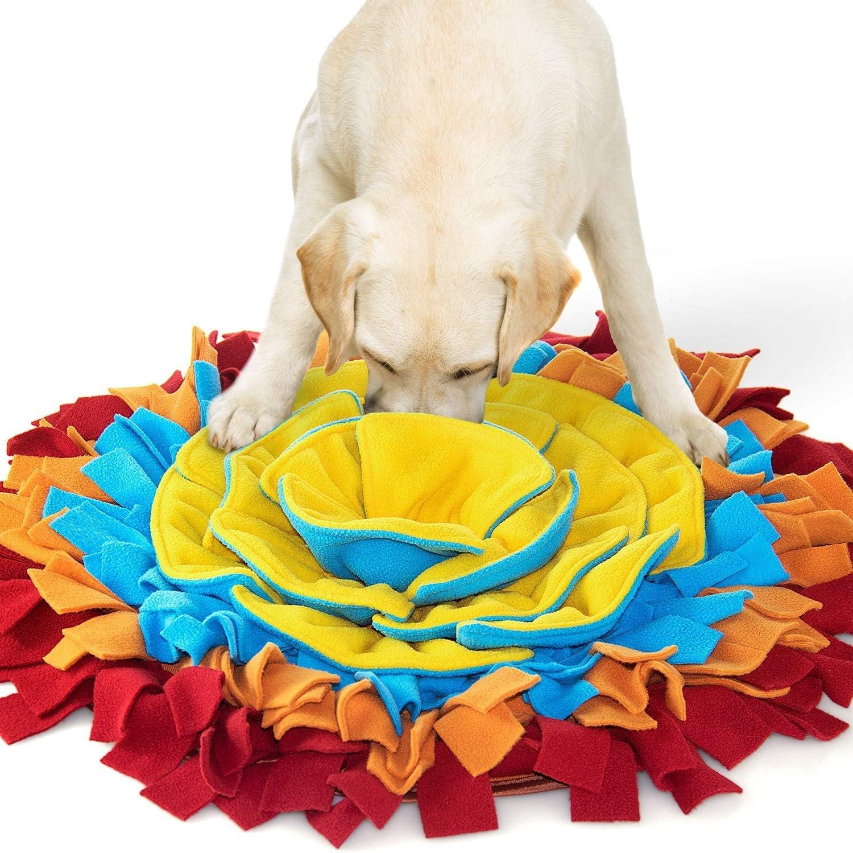 AWOOF Alfombra Olfativa Perros Forma de Flor Alfombra Olfato Perro Manta Olfativa Perro Comedero para Perros Alfombra Olfato Snuffle Mat para Perros (Rojo)(Rojo)