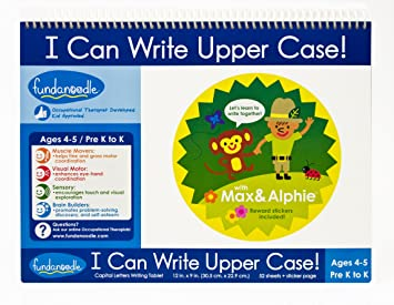 Amazon.com : Fundanoodle I Can Write Upper Case Writing Tablet, 12 ...