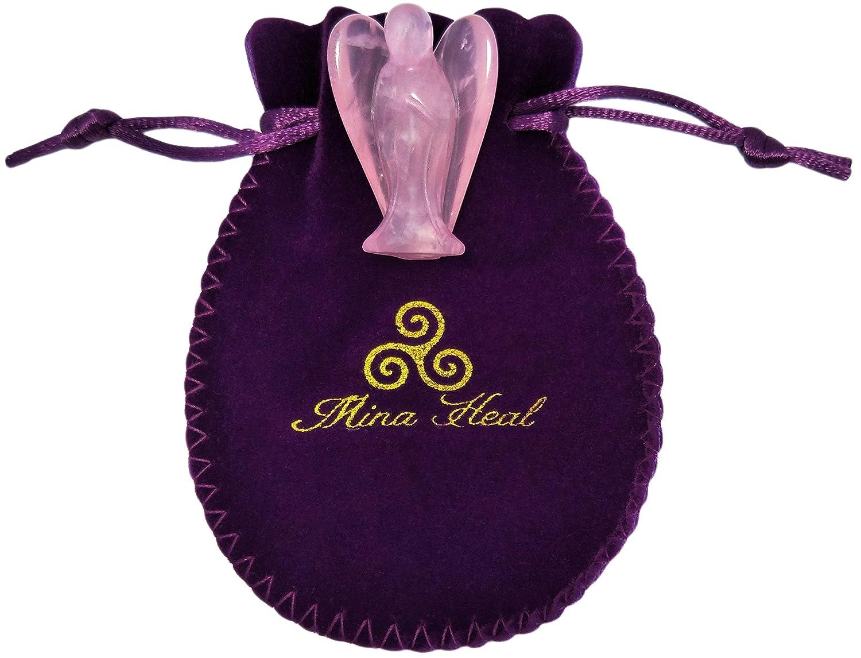 One piece hechos de cristal de cuarzo rosa de alta calidad; amor paz y curaci/ón Figurines de /ángel de Mina Heal tama/ño de bolsillo