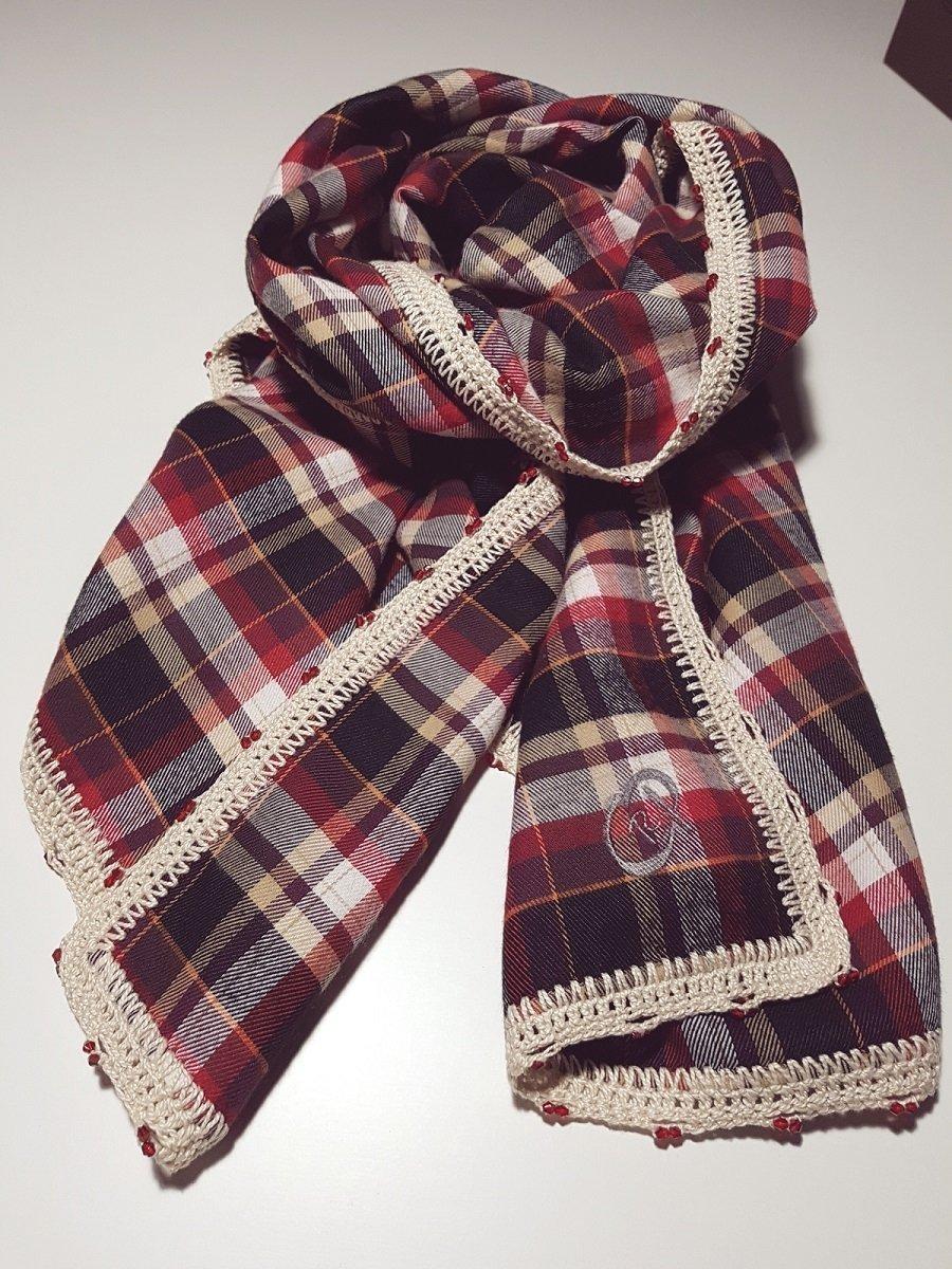 Pañuelo-Chal elaborado a mano a doble cara, con crochet y ...