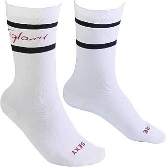 Tiglami Secreto Negro - Calcetines blancos y negros - de algodón peinado - Calcetines con rayas y una frase – Calcetines medios para hombres y mujeres - Dos tallas disponibles: Amazon.es: Ropa y accesorios