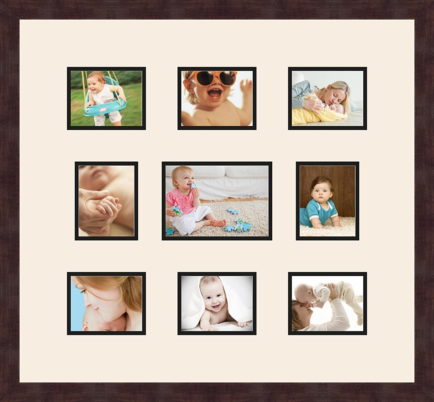 Art to Frames Double-Multimat-413-824//89-FRBW26061 Collage Frame Photo Mat Double Mat with 8-4x5 and 1-5x7 Openings and Espresso Frame