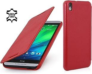 StilGut Housse UltraSlim, en style Book Type en cuir pour HTC Desire 816, en rouge