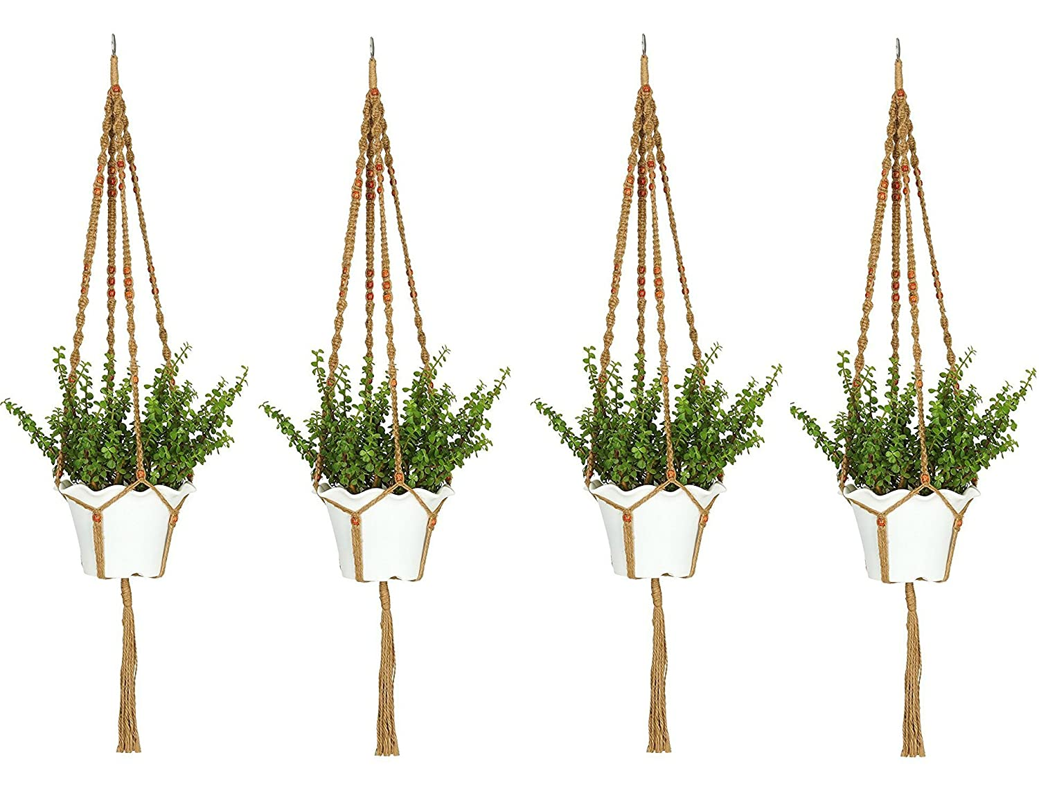 Ashman Macrame 4 Pack Jute Plant Hanger, Beautifully handmade Orange Beads 4 Leg Arms elegant look for use Indoors Outdoors Patio Balcony Deck Ceiling Round Square Containers and Hanging Baskets