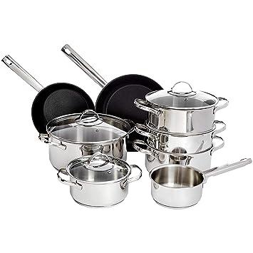 Amazonbasics - Juego de utensilios de cocina de inducción de acero inoxidable de 11 piezas, con tapas: Amazon.es: Hogar