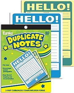 "Eureka 'Hello!' Teacher Notes to Parents, 50pc, 4"" W x 6"" L"