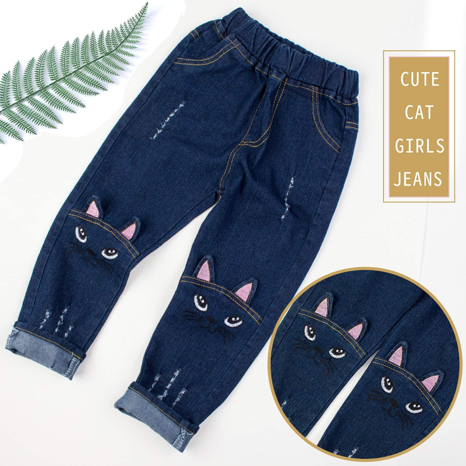 BOOPH Girls Jeans Baby Toddler Cat Kitty Distressed Ripped Slim Denim Pants