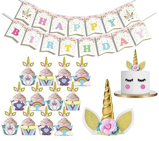 LUCK COLLECTION Unicornio Fiesta de cumpleaños Juego de ...