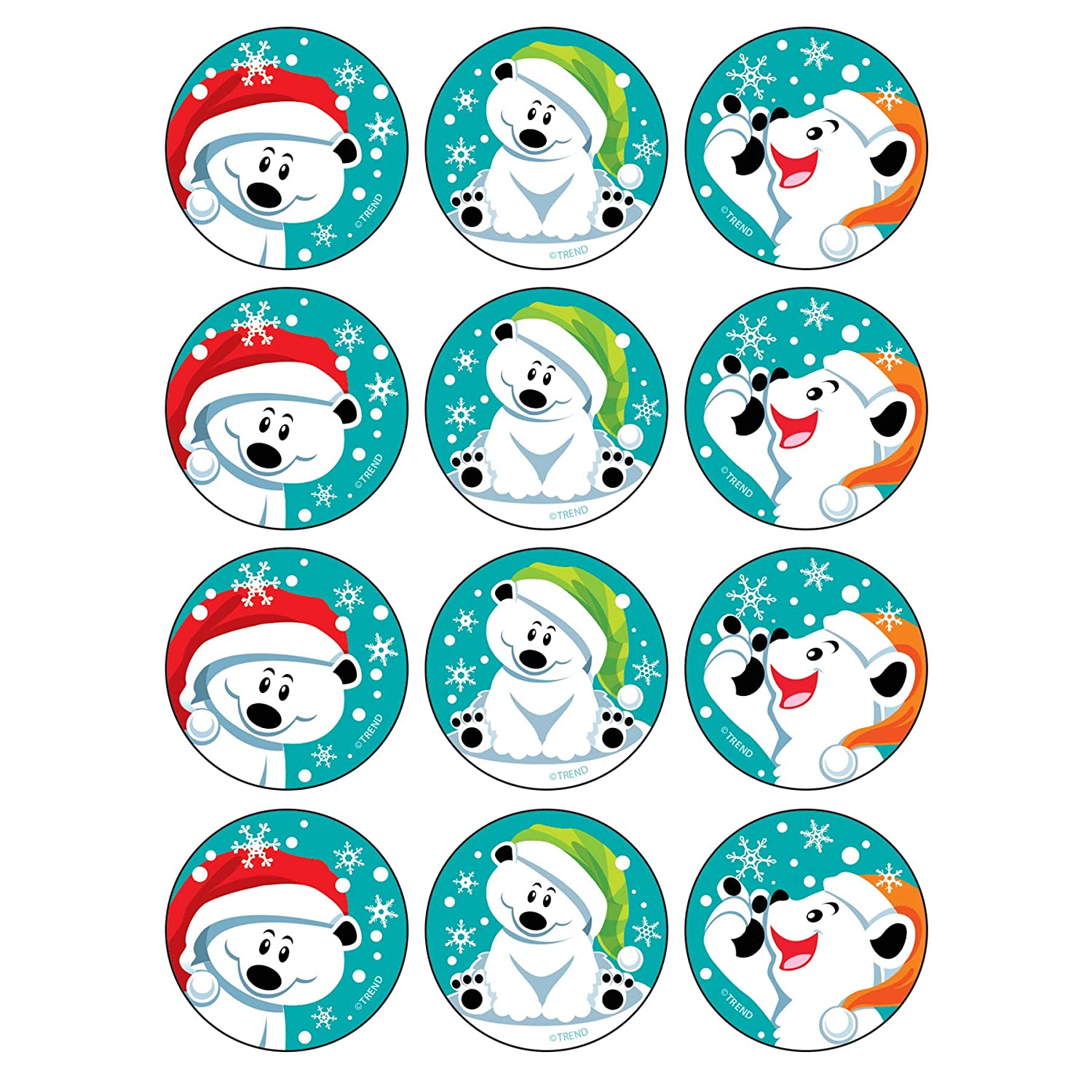 1.25 48 Count Blue TREND enterprises Winter Bears//Peppermint Stinky Stickers