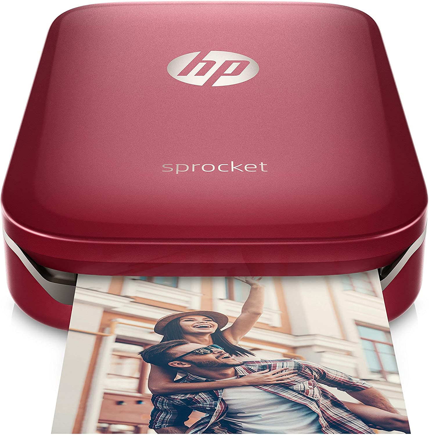 HP Sprocket Portable Photo Printer, Print Social Media Photos on 2x3 Sticky-Backed Paper - Red (Z3Z93A) (Renewed)