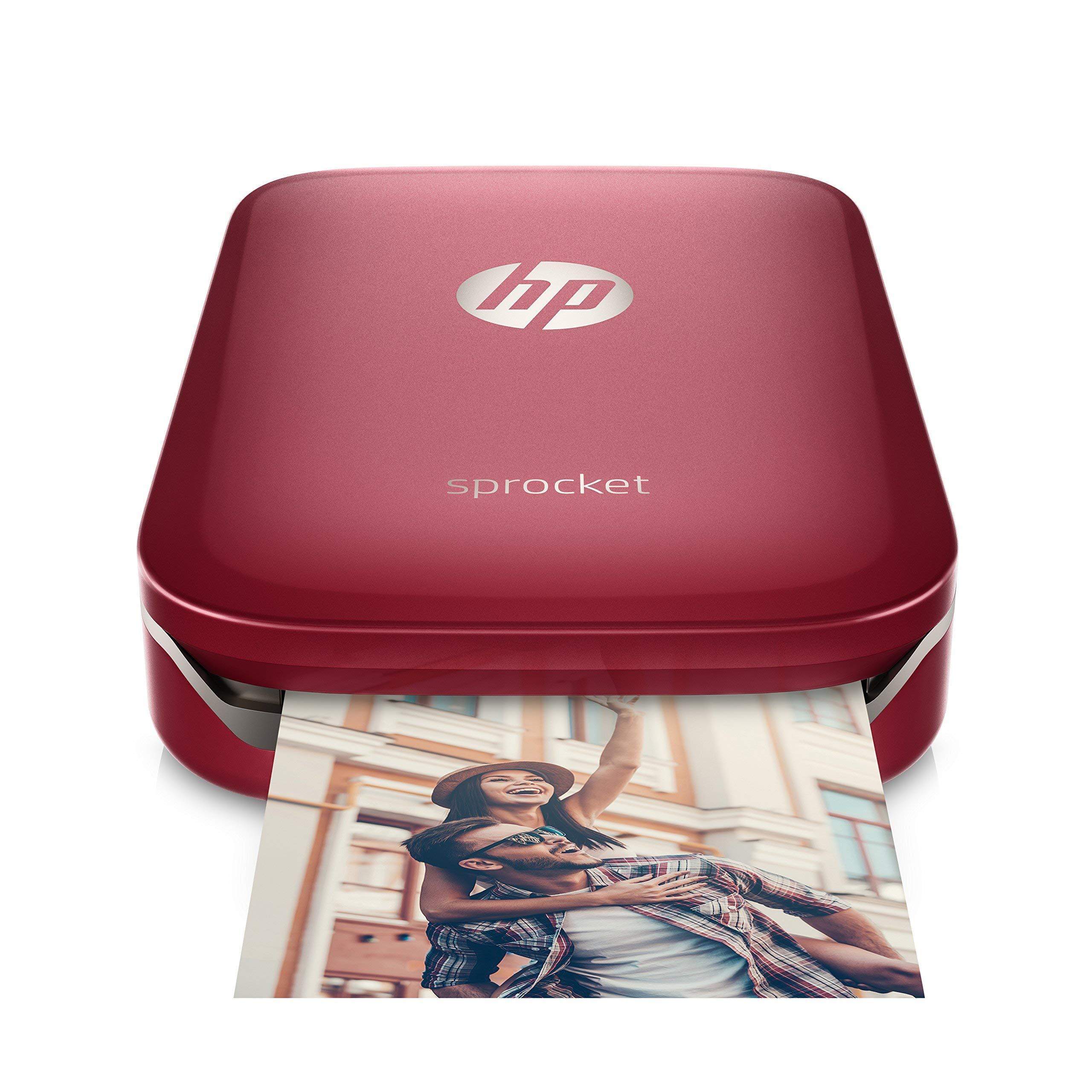 HP Sprocket Portable Photo Printer, Print Social Media Photos on 2x3 Sticky-Backed Paper - Red (Z3Z93A) (Renewed) by HP