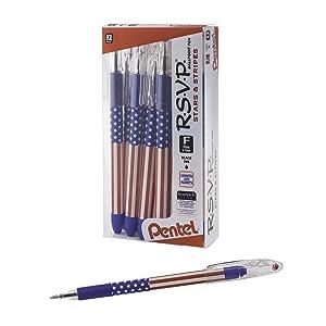 Pentel RSVP Ballpoint Pen, (0.7mm) Fine Line, Flag Barrel, Black Ink,12 pack (BK90USA-A)