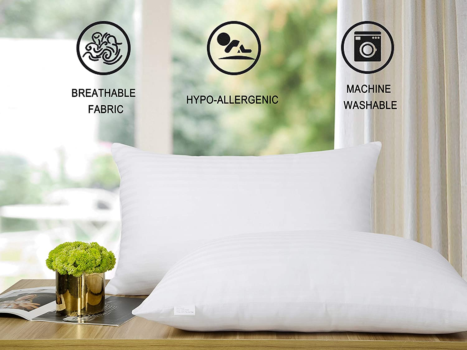 SWTMERRY Bed Pillows 2 Pack | Cooling