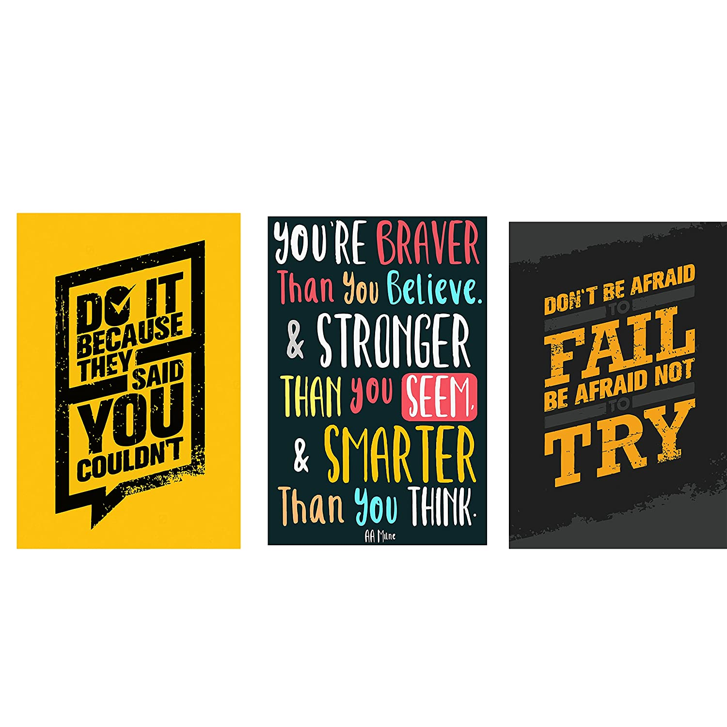 Combo pack of Motivational quotes Wall Poster Quotes & Motivation ,(12X18) BY Vprint