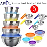 ARTC® Mixing Bowls with Lids, Stainless Steel Serving Storage Bowls Set of 5 with Measurement, Stackable