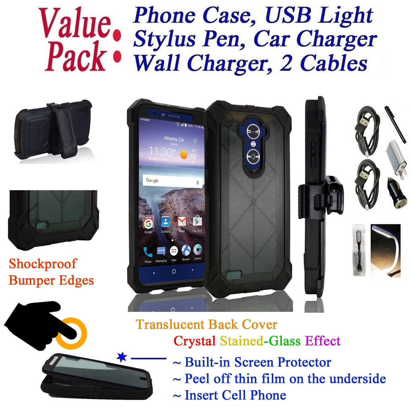 Value Pack + for 6'' ZTE Max XL / Blade X Max case Phone Case 360° Cover Screen Protector Belt Clip Crystal Holster Kick Stand Shock Bumper (Black) by 6goodeals